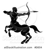 Vector Illustration of a Black and White Horoscope Zodiac Astrology Sagittarius Centaur Archer by AtStockIllustration