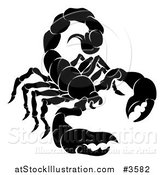 Vector Illustration of a Black and White Horoscope Zodiac Astrology Scorpio Scorpion by AtStockIllustration