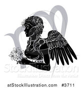 Vector Illustration of a Black and White Horoscope Zodiac Astrology Virgo Angel with Flowers and Symbol by AtStockIllustration