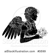 Vector Illustration of a Black and White Horoscope Zodiac Astrology Virgo Angel with Flowers by AtStockIllustration