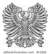 Vector Illustration of a Black and White Imperial Coat of Arms Eagle by AtStockIllustration
