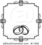 Vector Illustration of a Black and White Invitation with a Frame and Engraved Wedding Rings by AtStockIllustration