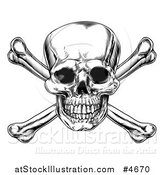 Vector Illustration of a Black and White Jolly Roger Skull and Crossbones by AtStockIllustration
