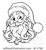 Vector Illustration of a Black and White Jolly Santa Face by AtStockIllustration