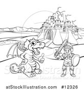 Vector Illustration of a Black and White Knight and Dragon by a Castle by AtStockIllustration