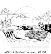 Vector Illustration of a Black and White Landscape of Renewable Energy Plants with a Dam, Solar Panels, Wind Turbines, Coal Plants and Nuclear Plants by AtStockIllustration