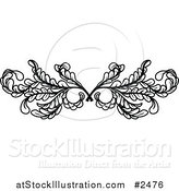 Vector Illustration of a Black and White Leafy Swirl Butterfly by AtStockIllustration