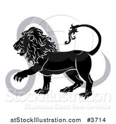 Vector Illustration of a Black and White Leo Lion Star Sign and Symbol by AtStockIllustration