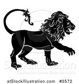 Vector Illustration of a Black and White Leo Lion Star Sign by AtStockIllustration