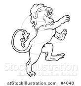 Vector Illustration of a Black and White Leo Lion Zodiac Astrology Sign by AtStockIllustration