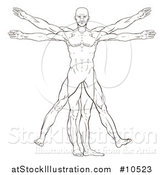 Vector Illustration of a Black and White Leonard Da Vinci Vitruvian Man by AtStockIllustration