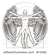 Vector Illustration of a Black and White Leonard Da Vinci Vitruvian Man with Angel Wings by AtStockIllustration