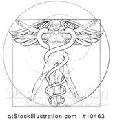 Vector Illustration of a Black and White Leonard Da Vinci Vitruvian Man with Wings and a Doubl Helix Snake Caduceu by AtStockIllustration
