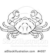 Vector Illustration of a Black and White Line Drawing of the Cancer Crab Zodiac Astrology Sign by AtStockIllustration
