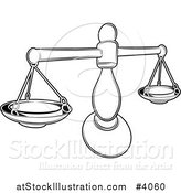 Vector Illustration of a Black and White Line Drawing of the Libra Scales Zodiac Astrology Sign by AtStockIllustration