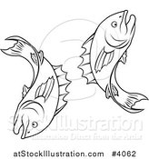 Vector Illustration of a Black and White Line Drawing of the Pisces Fish Zodiac Astrology Sign by AtStockIllustration