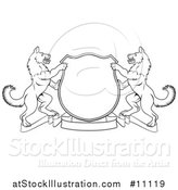 Vector Illustration of a Black and White Lineart Alsatian Coat of Arms Shield with a Ribbon by AtStockIllustration