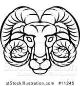 Vector Illustration of a Black and White Lineart Aries Ram Astrology Zodiac Horoscope by AtStockIllustration