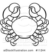 Vector Illustration of a Black and White Lineart Cancer Crab Astrology Zodiac Horoscope by AtStockIllustration