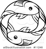 Vector Illustration of a Black and White Lineart Double Pisces Fish Astrology Zodiac Horoscope by AtStockIllustration