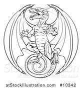 Vector Illustration of a Black and White Lineart Dragon by AtStockIllustration