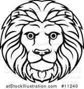 Vector Illustration of a Black and White Lineart Leo Lion Face and Mane Astrology Zodiac Horoscope by AtStockIllustration