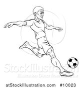 Vector Illustration of a Black and White Lineart Male Soccer Football Player Kicking a Ball by AtStockIllustration