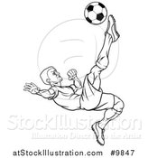 Vector Illustration of a Black and White Lineart Male Soccer Football Player Kicking the Ball by AtStockIllustration
