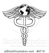 Vector Illustration of a Black and White Lineart Medical Caduceus with Snakes on a Winged Globe Rod by AtStockIllustration