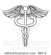Vector Illustration of a Black and White Lineart Medical Caduceus with Snakes on a Winged Rod by AtStockIllustration