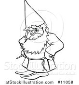 Vector Illustration of a Black and White Lineart Old Wizard by AtStockIllustration