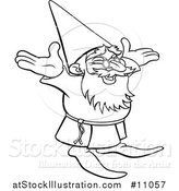 Vector Illustration of a Black and White Lineart Old Wizard Cheering by AtStockIllustration