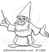 Vector Illustration of a Black and White Lineart Old Wizard Holding a Magic Wand by AtStockIllustration