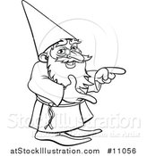 Vector Illustration of a Black and White Lineart Old Wizard Pointing by AtStockIllustration