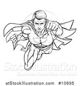 Vector Illustration of a Black and White Lineart Pop Art Comic Male Super Hero Flying Forward by AtStockIllustration