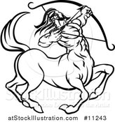 Vector Illustration of a Black and White Lineart Sagittarius Centaur Archer Astrology Zodiac Horoscope by AtStockIllustration