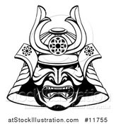 Vector Illustration of a Black and White Lineart Skull Asian Samurai Mask by AtStockIllustration