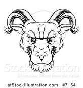 Vector Illustration of a Black and White Lineart Snarling Ram Head by AtStockIllustration