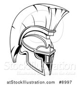 Vector Illustration of a Black and White Lineart Spartan or Trojan Helmet by AtStockIllustration