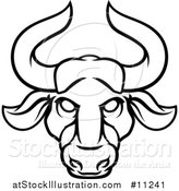 Vector Illustration of a Black and White Lineart Taurus Bull Astrology Zodiac Horoscope by AtStockIllustration