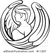 Vector Illustration of a Black and White Lineart Virgo Angel Astrology Zodiac Horoscope by AtStockIllustration