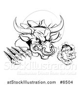 Vector Illustration of a Black and White Mad Aggressive Bull Monster Clawing Through a Wall by AtStockIllustration