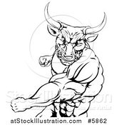 Vector Illustration of a Black and White Mad Bull or Minotaur Mascot Punching by AtStockIllustration
