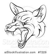 Vector Illustration of a Black and White Mad Fox Face by AtStockIllustration