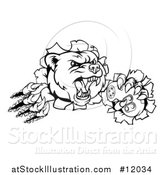 Vector Illustration of a Black and White Mad Grizzly Bear Mascot Breaking Through a Wall and Holding a Video Game Controller by AtStockIllustration