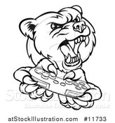 Vector Illustration of a Black and White Mad Grizzly Bear Mascot Holding a Video Game Controller by AtStockIllustration