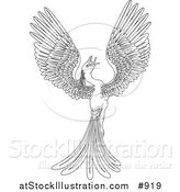 Vector Illustration of a Black and White Magical Flying Phoenix Bird by AtStockIllustration
