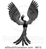 Vector Illustration of a Black and White Majestic Phoenix Fantasy Bird Opening Its Wings by AtStockIllustration