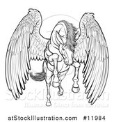Vector Illustration of a Black and White Majestic Winged Horse Pegasus Flying Forward by AtStockIllustration