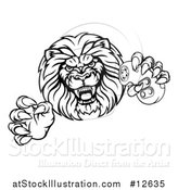 Vector Illustration of a Black and White Male Lion Attacking with a Video Game Controller in One Paw by AtStockIllustration
